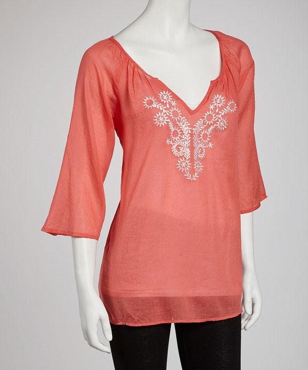 Take a look at this Papillon Imports Coral Sheer Embroidered Top on zulily today!