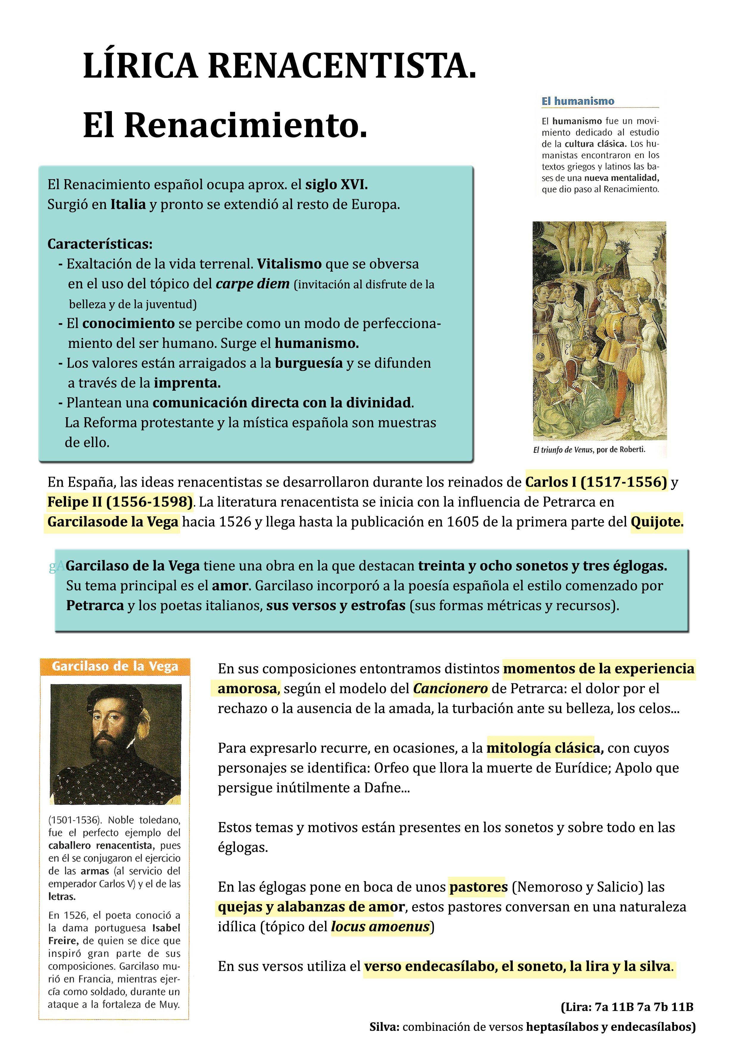 Apuntes Para 3º De Eso Sobre Lírica Renacentista Y Garcilaso De La Vega Literatura Española Renacimiento Literatura Historia De La Literatura