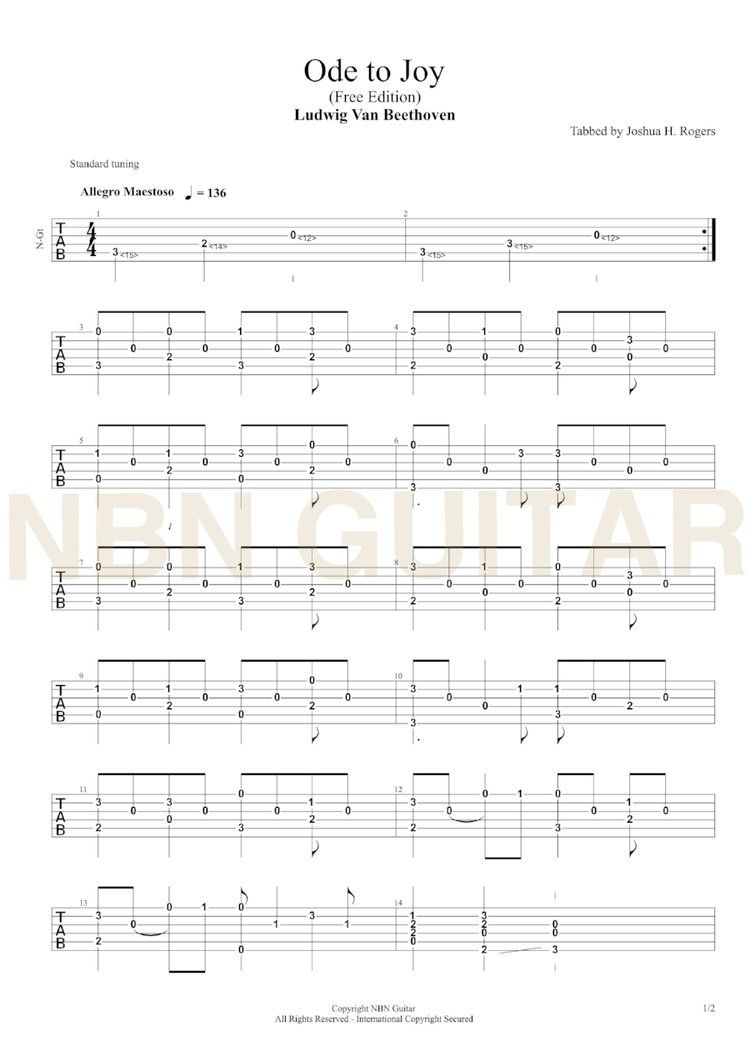 Ode To Joy Free Classical Guitar Tabs Nbn Guitar Classical Guitar Ode To Joy Guitar Tabs