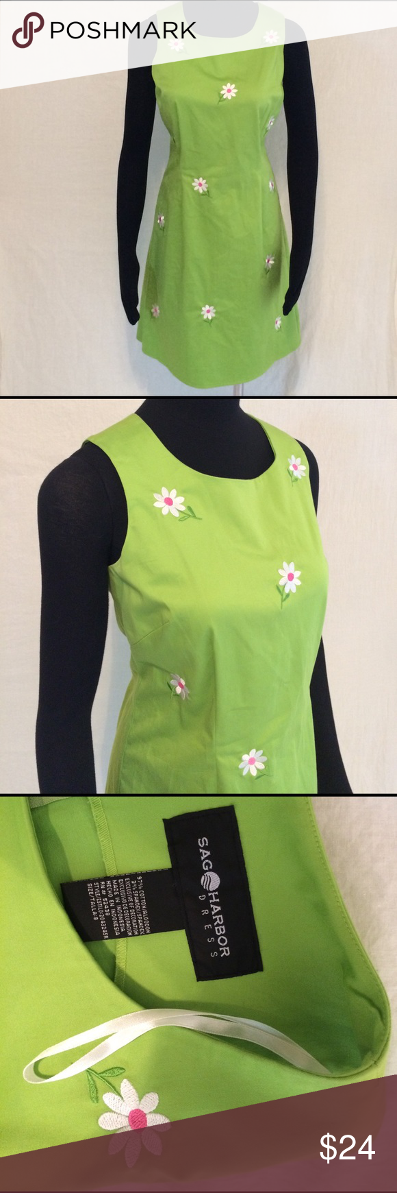 Sag Harbor Daisy Embroidered Summer Dress Size 8 Cute Green With Adorable Embroidery Daisies Dresses Midi