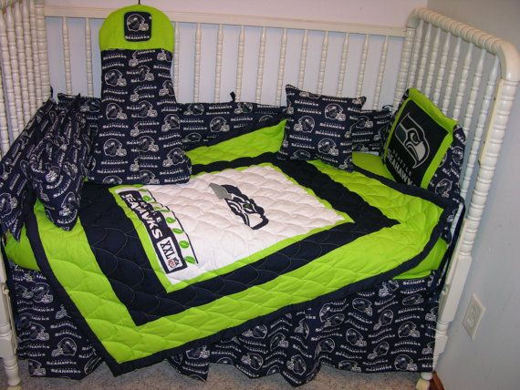 crib bedding set m/w seattle seahawks fabric | seahawks, bed sets