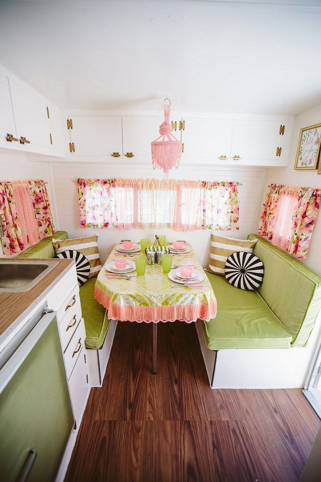 Small camper interior  vintage camper decor transformed into a cozy place  in