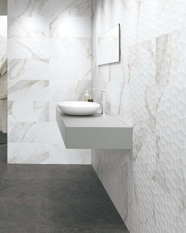 Adella Viso Calacatta Satin Finished Tiles Feature A Soft Creamy Background And Veins Reminiscent Of Fine Natural Marb Marble Look Tile Calacatta Ceramic Tiles