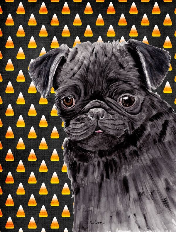 Pug Candy Corn Halloween Portrait 2-Sided Garden Flag