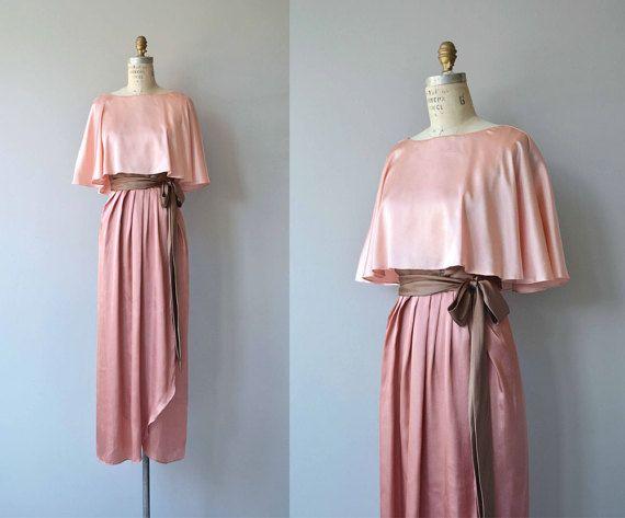 Courcy silk dress | vintage 1970s maxi dress | silk 70s dress