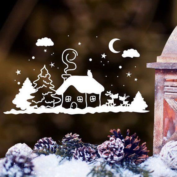 Fensterbild Winterhäuschen mit Schnee Weihnachten