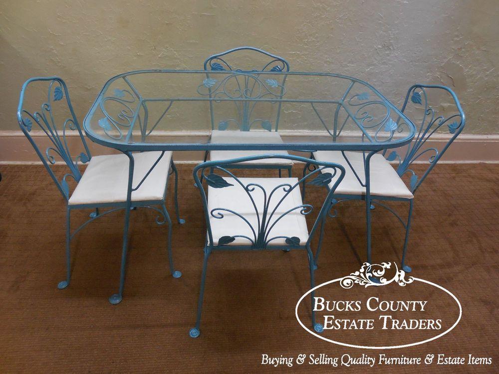 Salterini Wrought Iron Art Nouveau Patio 5 Piece Table & Chairs ...
