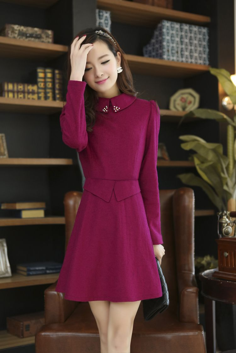 Long sleeve cashmere dress gathered waist yrb red purple