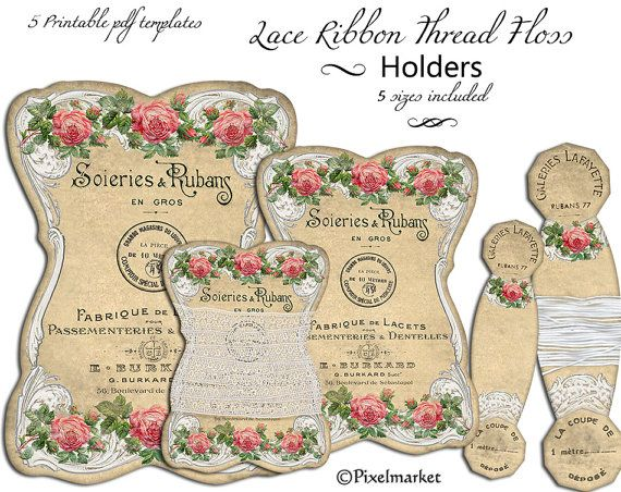 Lace Ribbon Keeper Thread Card Printable Templates Set Of 5