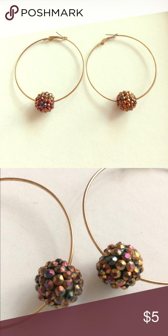 Funky Hoop Earrings With Chunky Beads Very Cool Pair Of Gold Tone Hoops Spherical