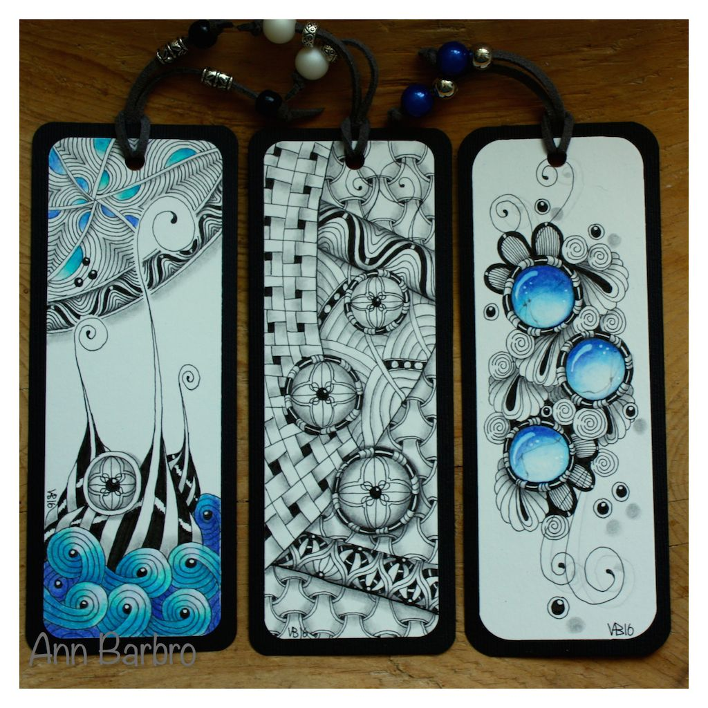Zentangle Inspired Art; 3 bookmarks with a lot of tangles and Gem ...