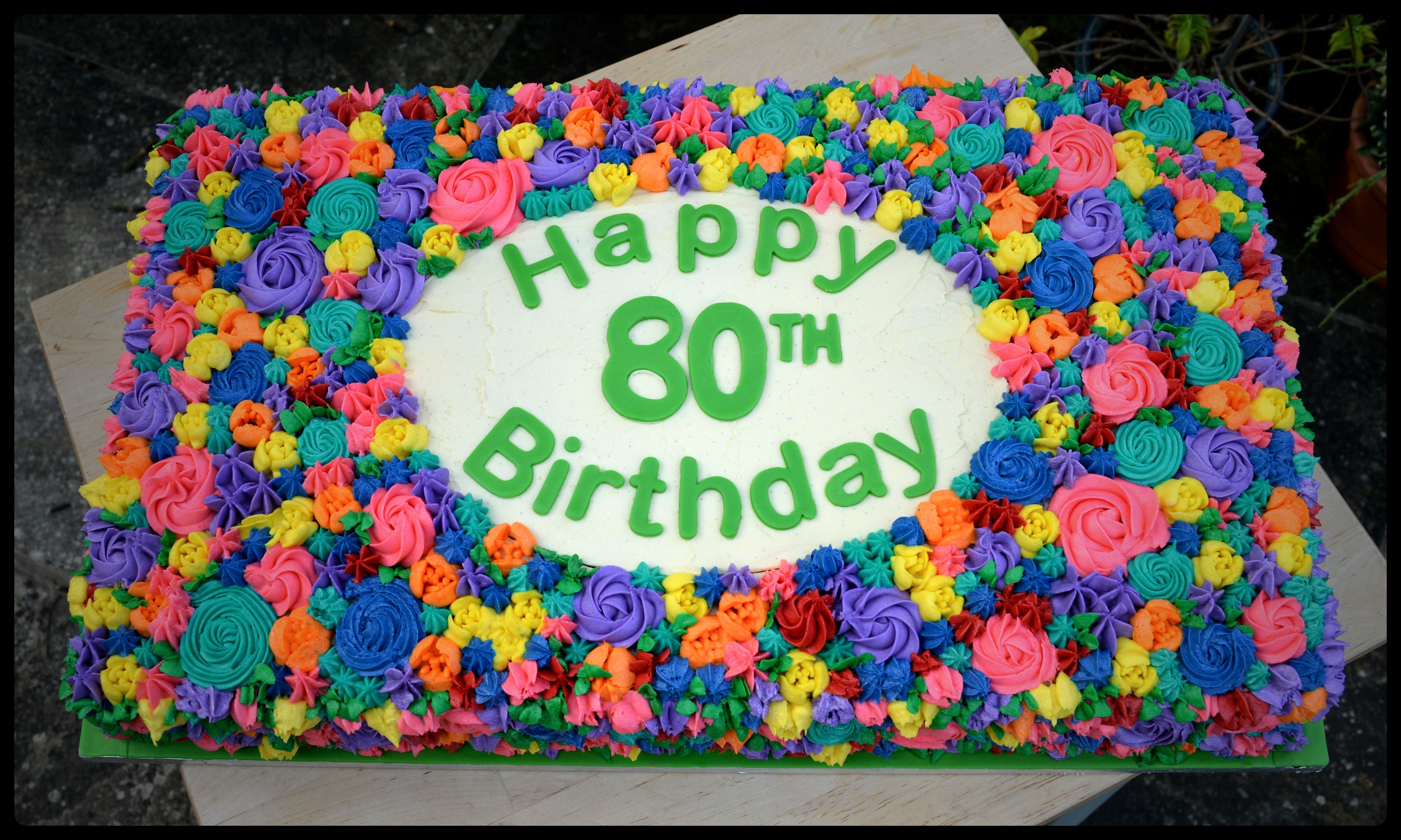 Outstanding Giant Flower Cake For 80Th Birthday Kingfisher Bakery Staverton Personalised Birthday Cards Sponlily Jamesorg