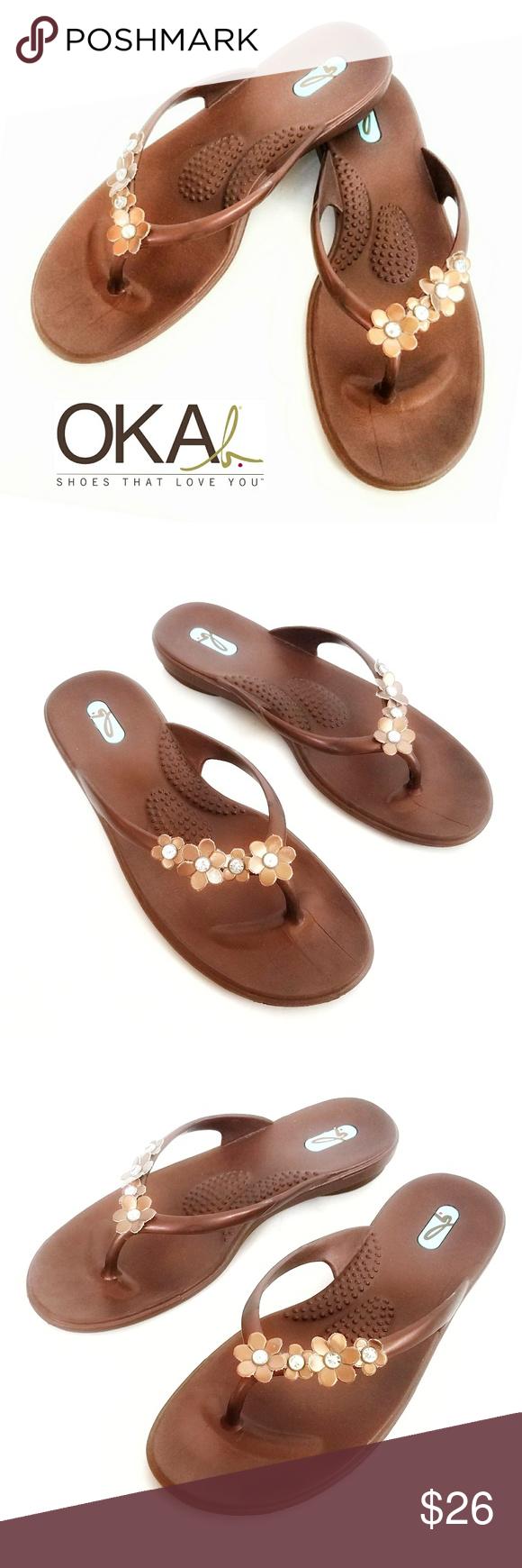 92af221849a348 OKA b. Malia Copper Flip Flop Sandals M-L Malia Copper Flip Flop Sandals by  OKA