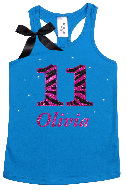 Bubblegum Divas Big Girls 12th Birthday Pink Zebra Print Animal Shirt