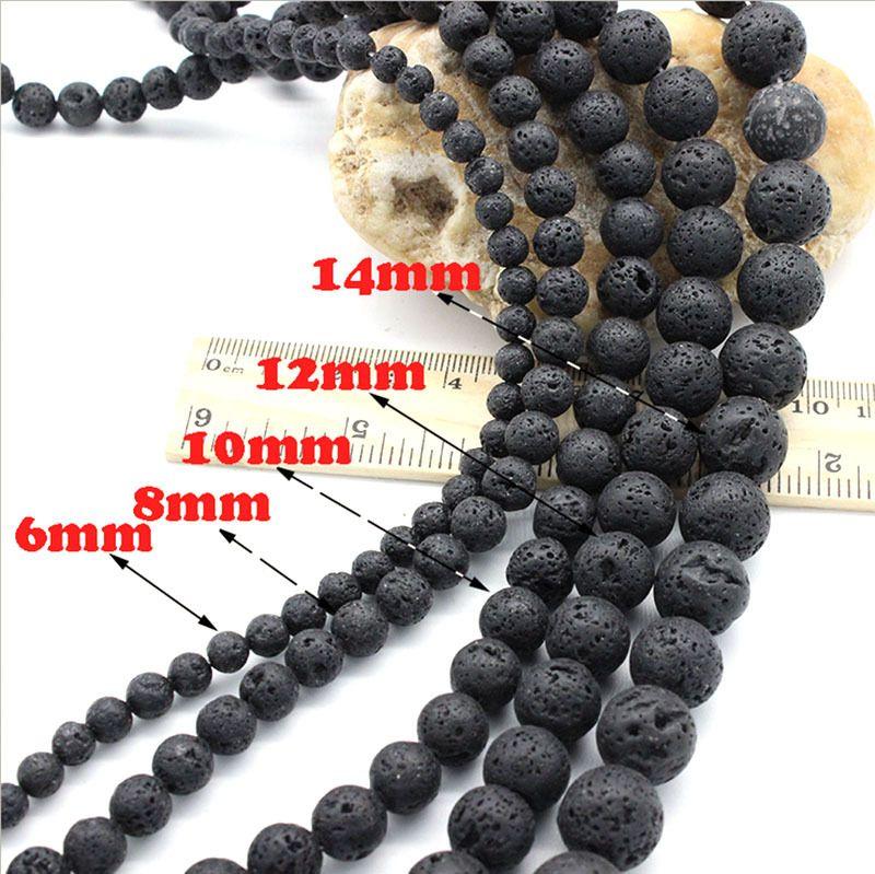 wholesale 6 8 10 12 14mm Natural Black Volcanic Lava Stone Round Beads For Charm Classic Bracelet DIY Gem Stone Beads