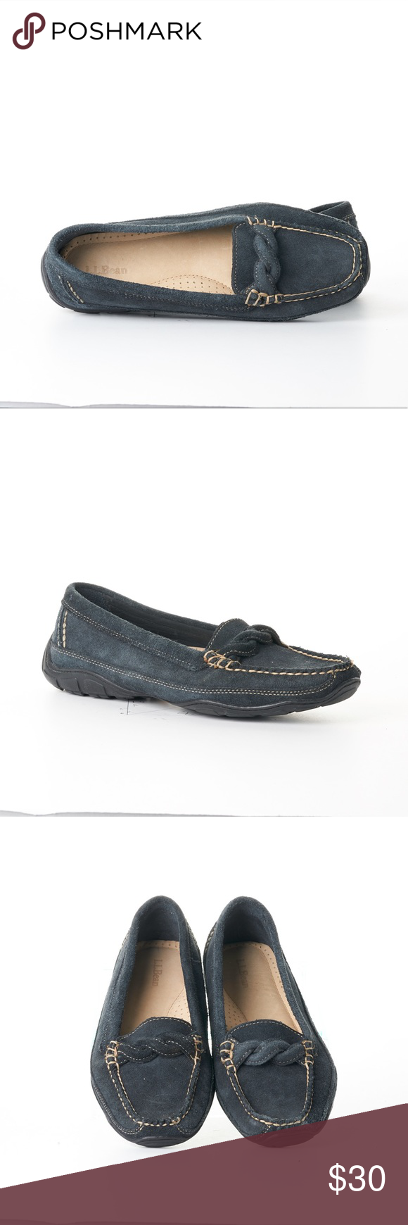 L.L. Bean Suede Flat Loafers Size 8.5 Wide Blue. L.L. Bean Women's Suede Flat Loafers With Knot Decorations. Size 8.5 Wide Bluish Green. Excellent used condition. There are couple of scuff marks on the the shoes and they are not noticable. Very comfortable and classy. They can go with any outfit.  L.L. Bean Shoes Flats & Loafers