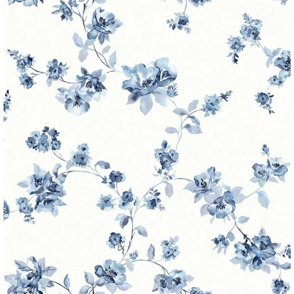Chesapeake Cyrus Blue Floral Paper Strippable Roll (Covers 56.4 sq. ft.)-3115-24481 - The Home Depot