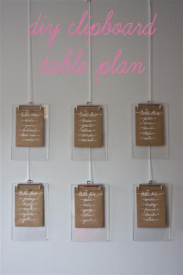 Diy Clipboard Wedding Table Plan Tutorial On Http Whimsicalwonderlandweddings
