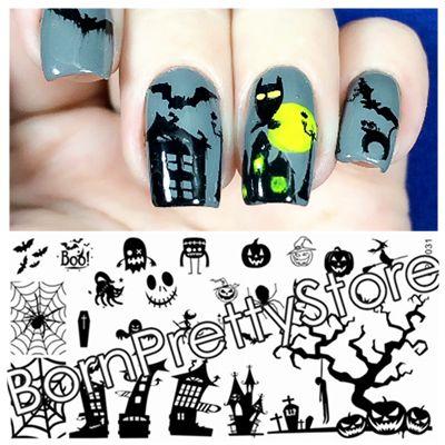 $2.99 Halloween Theme Nail Art Stamp Template Image Plate BORN PRETTY BP-L031 12.5 x 6.5cm - BornPrettyStore.com