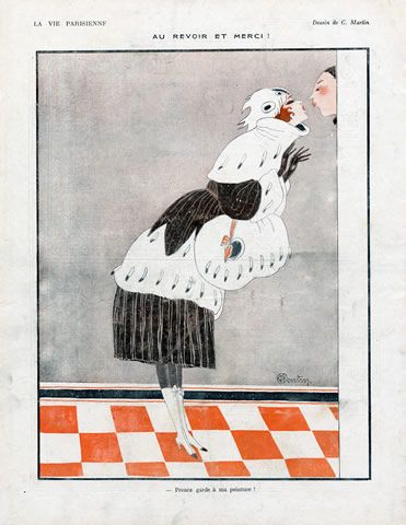 by Charles Martin 1918 Elegant Parisienne Lover Kiss Fur Coat