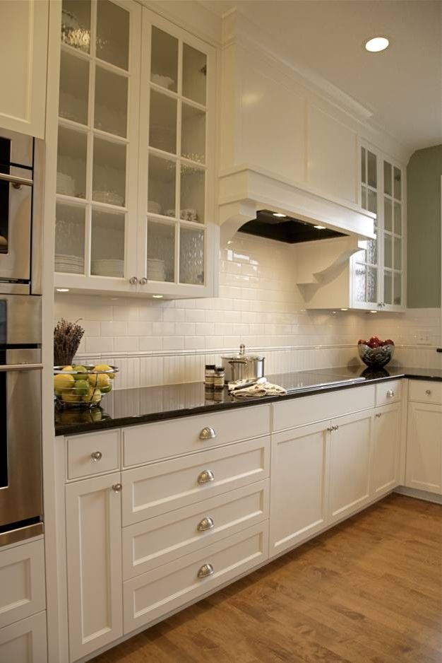 Impressive subway tile backsplash in Kitchen Traditional with White ...