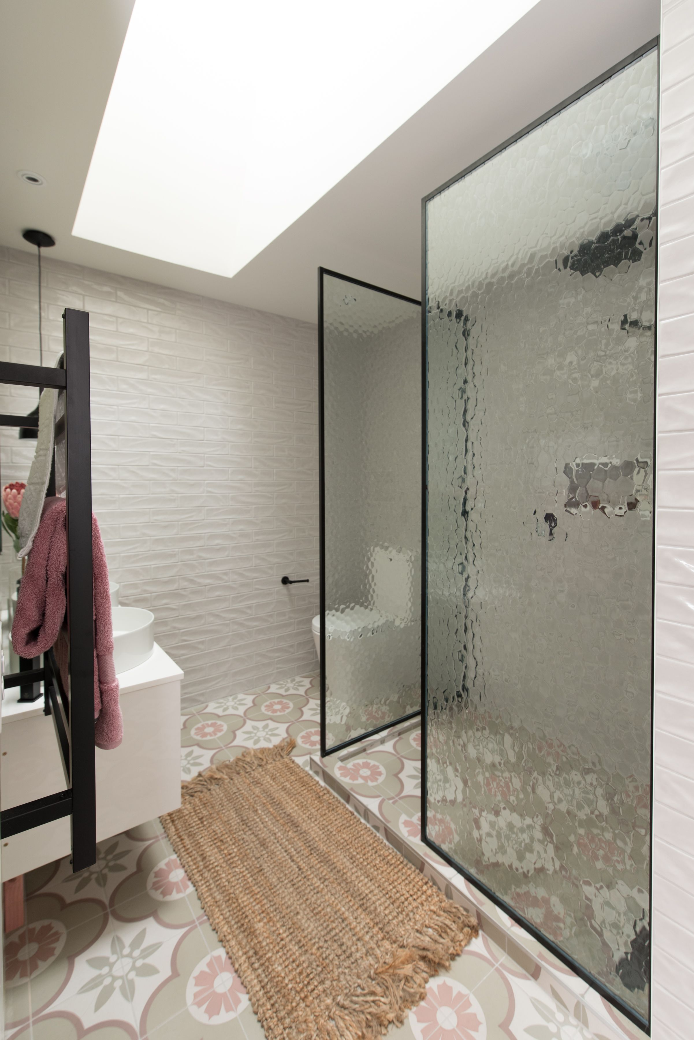 Adding A New Touch To Walk In Showers This One Utilises Patterned