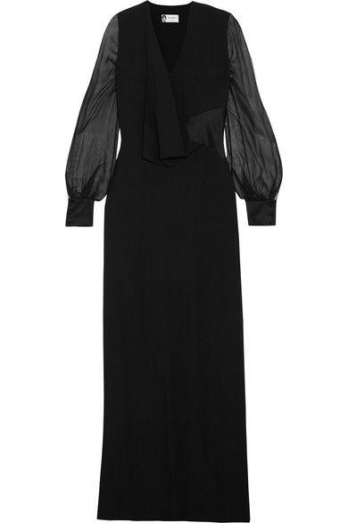 Draped Crepe, Silk-chiffon And Satin Gown - Black Lanvin