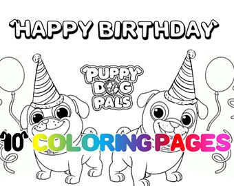 Coloring Pages Puppy Dog Pals Printables Puppies Party Favor Favors Digital Download Instant Birthday