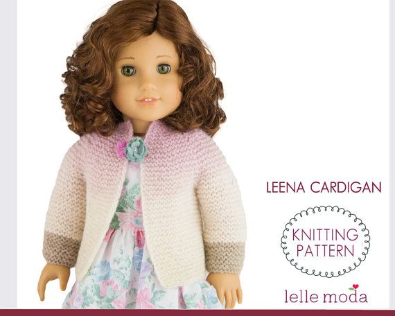 Doll Clothes Knitting Pattern Cardigan Pattern For 18 By Lellemoda