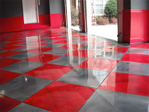 Metallic Red And Gray Tile Pattern Adds Pizzazz To Garage Floor