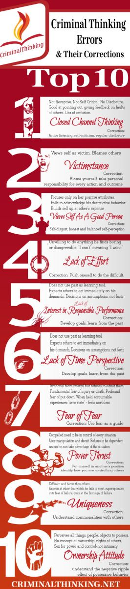 Top Ten Criminal Thinking Errors Cbt Therapy Infographic And Cbt