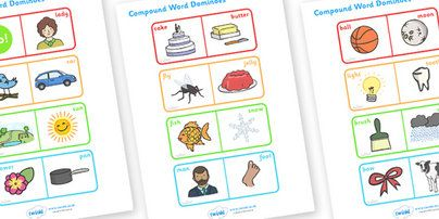 Preview: Compound Word Dominoes Game (with Words)