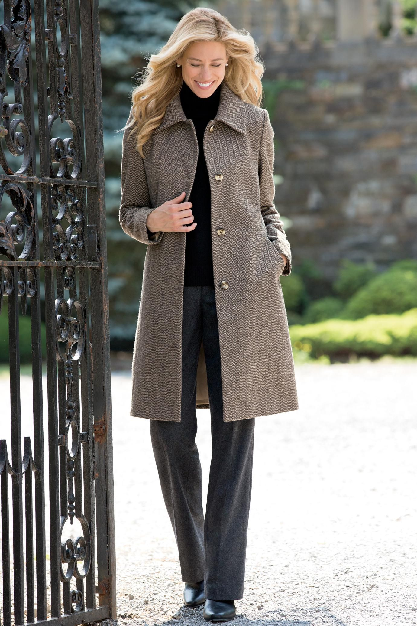 Women's Classic 3/4 Length Wool Coat | Chadwicks of Boston ...