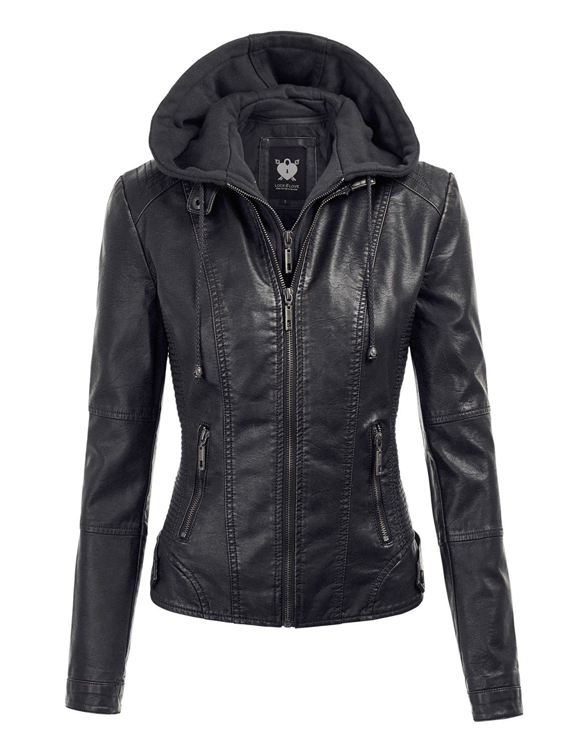 MBJ WJC1044 Womens Faux Leather Quilted Motorcycle Jacket
