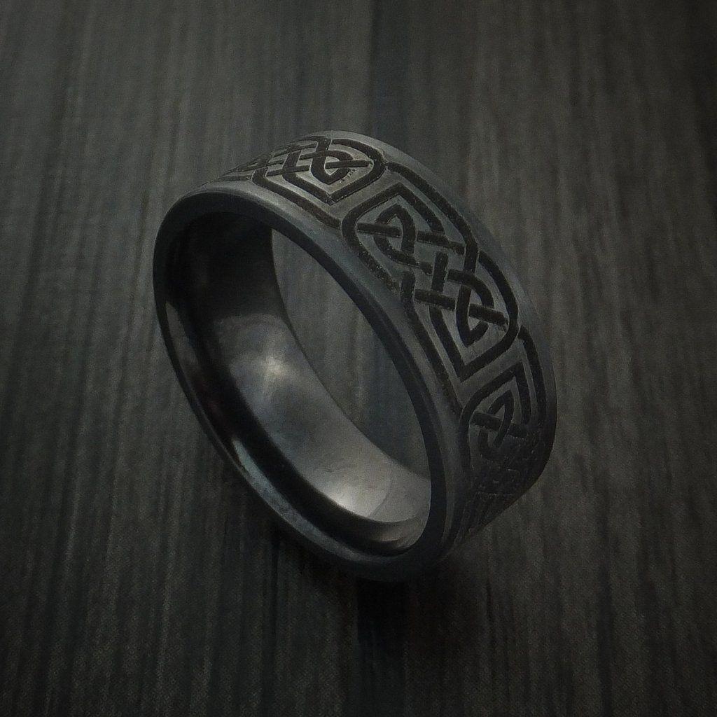 Black Zirconium Celtic Irish Knot Ring Custom Made Band Irish Knot Ring Celtic Wedding Rings Titanium Wedding Rings