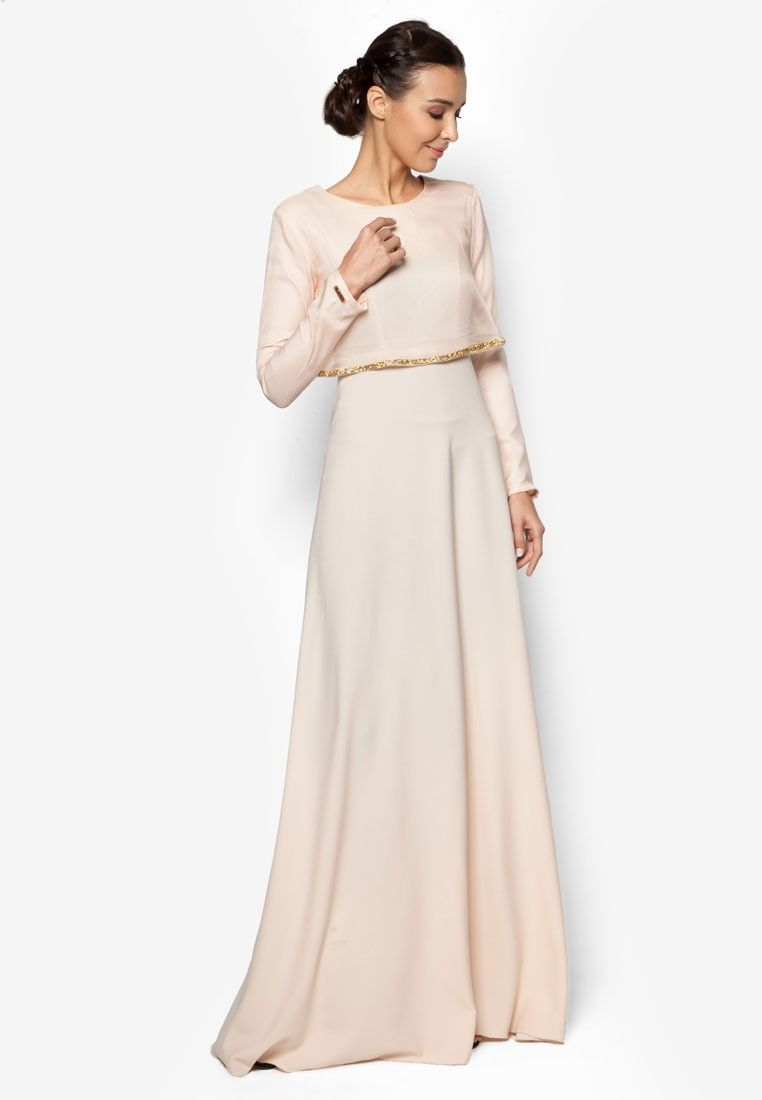 283c8aec0731 Cape Dress from MINAZ for ZALORA in orange and beige_1 | STYLE in ...