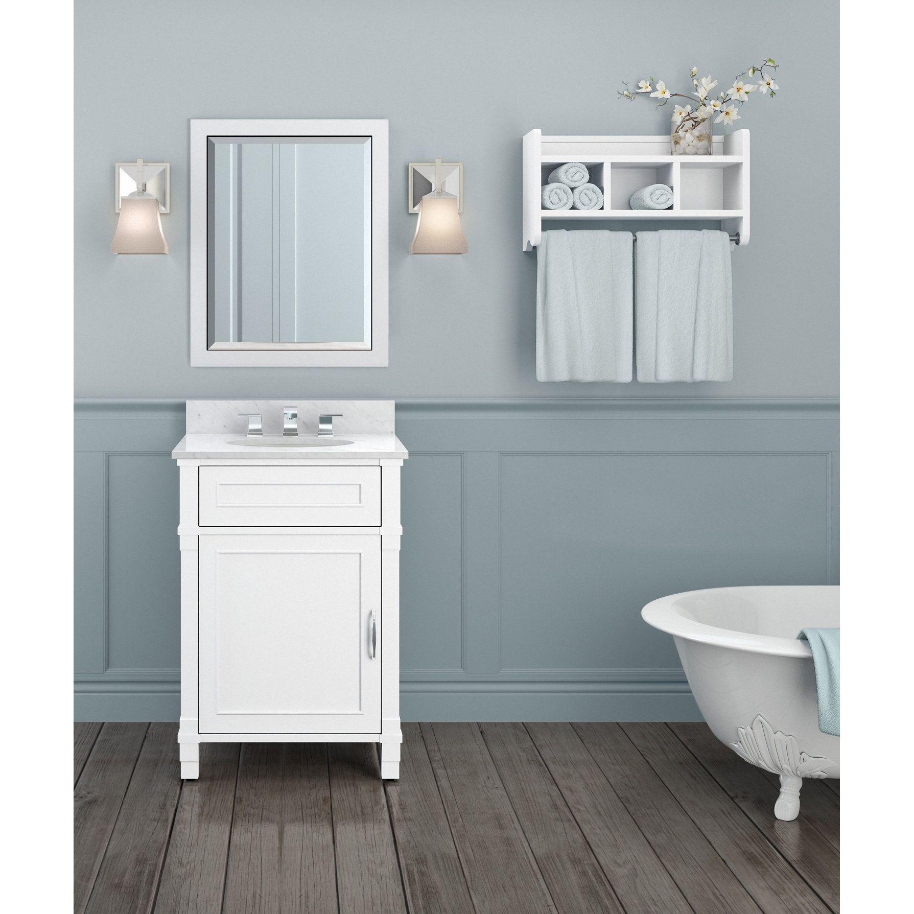 Alaterre Williamsburg Marble Sink White 24-in Bathroom Vanity with ...