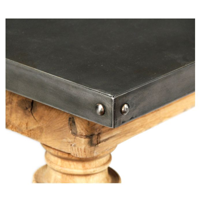 Zinc Top Borges Dining Table With Images Zinc Table Top Zinc Table Metal Table Top