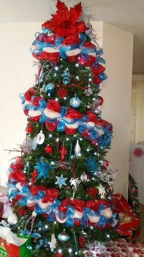 Christmas Tree 2014 - red, white, blue, silver.