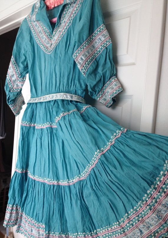 50s Vintage Turquoise Southwestern Patio Dress Fiesta Full Skirt Aqua Blue Cotton Fifties 1950s Squaw Sweep M Medium