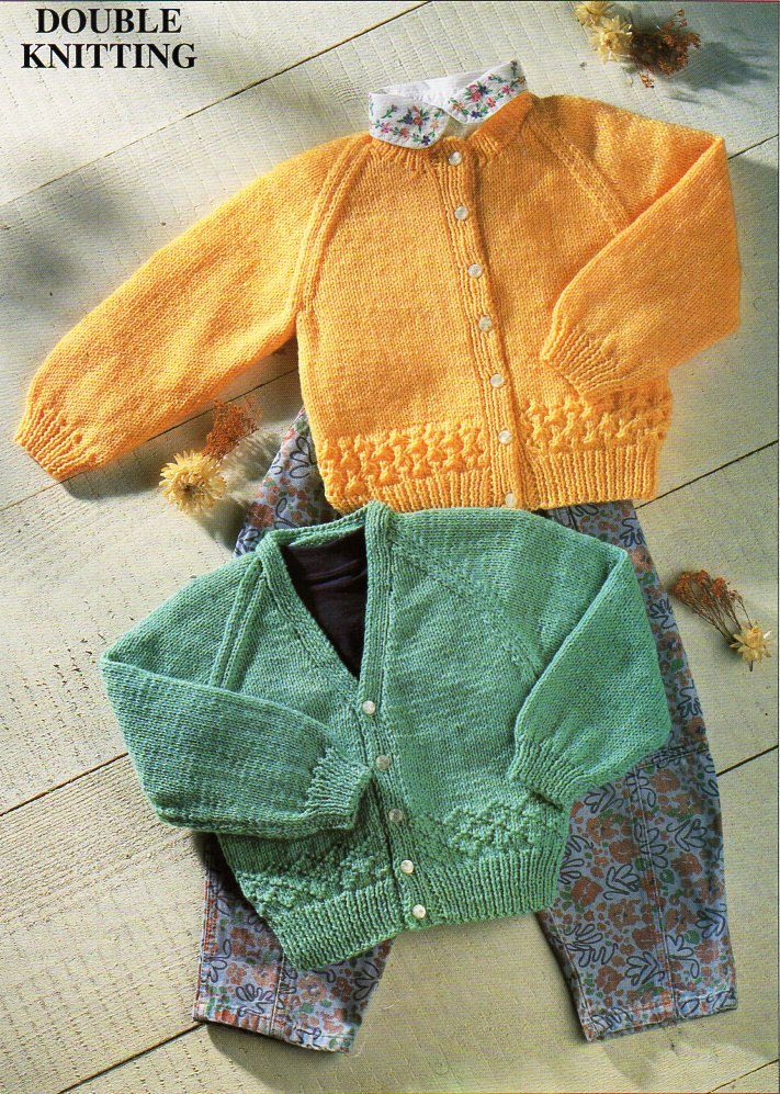 d914bfe5b98e Vintage baby cardigans knitting pattern PDF DK jackets v or round neck border  pattern 16-22 inch DK light worsted 8ply Instant download by Minihobo on  Etsy
