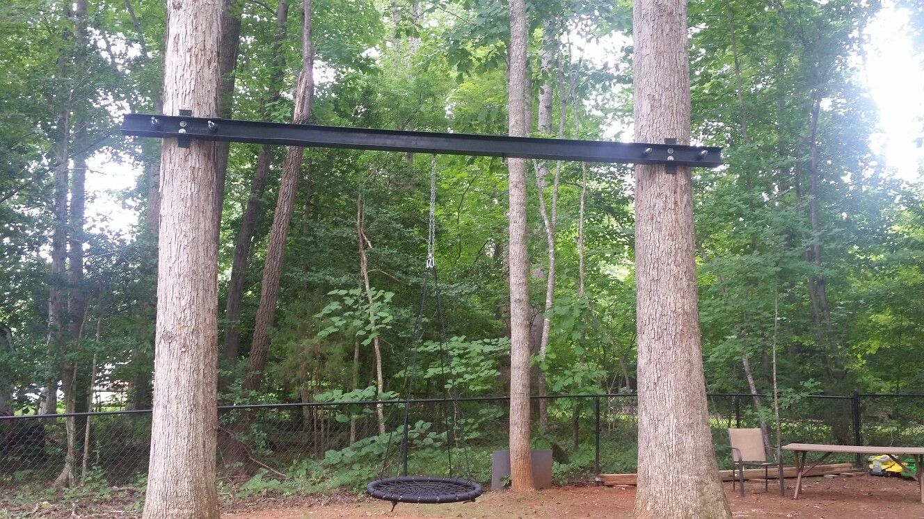 Swing Between Two Trees Using Metal I Beam Tree Swing Tree Two Trees