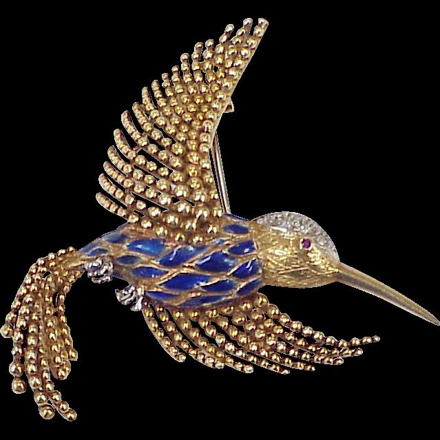 Vintage 18 K Gold Jeweled Hummingbird Brooch Cobalt Blue Enamel Accent.