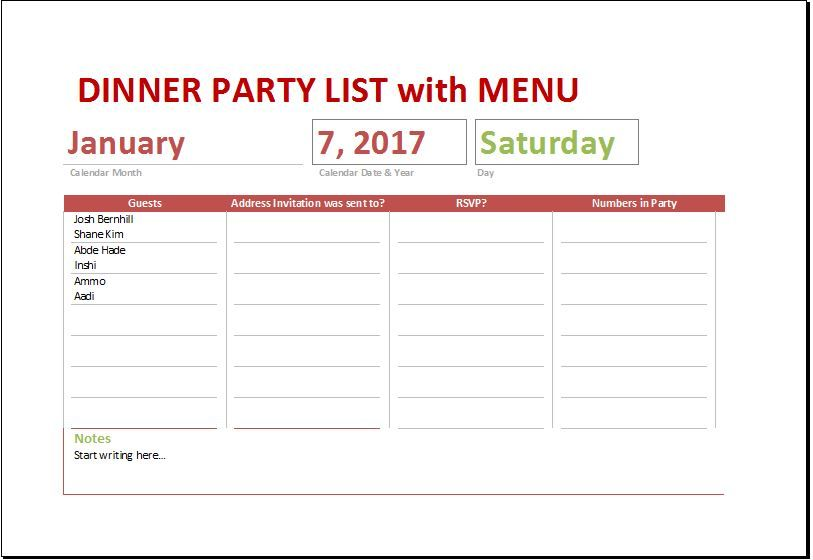 Dinner Party List with Menu DOWNLOAD at http\/\/worddoxorg\/dinner - excel timesheet template