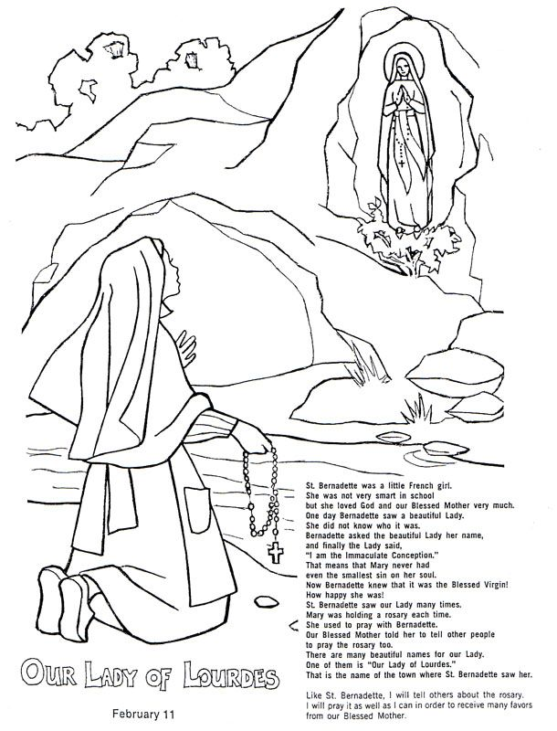 Our Lady of Lourdes Colouring page | St Bernadette | Pinterest ...