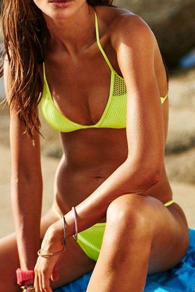 Solid Color Mesh Design Bikini Set