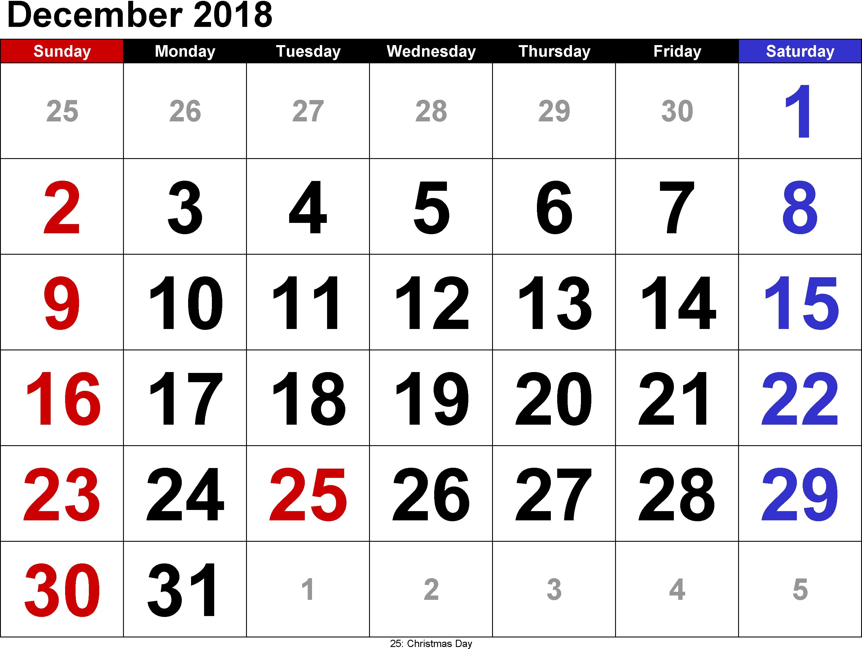 Calendar December For School Kds Html Printable