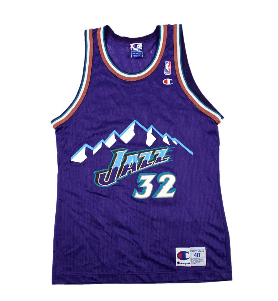 78e1f64ac21 Vintage 90s Champion Utah Jazz 32 Karl Malone NBA Jersey Mens Size 40  (Small ...