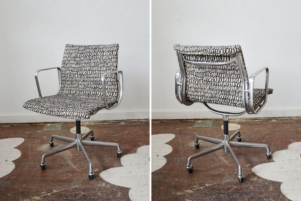 reupholster office chairs. One Of Two Vintage Eames Aluminum Group Desk Chairs We Sourced And Reupholster Office