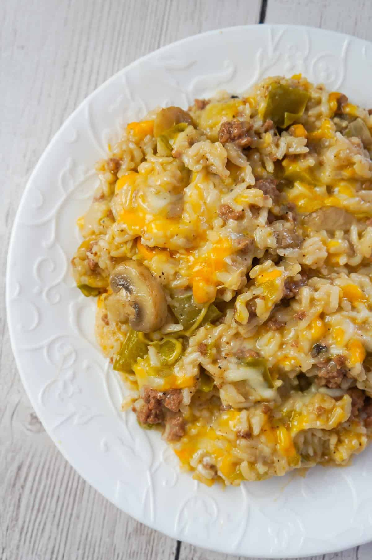 Instant Pot Philly Cheese Steak Ground Beef And Rice Is An Easy Ground Beef Dinner Rec In 2020 Cooking With Ground Beef Dinner With Ground Beef Beef Recipes For Dinner